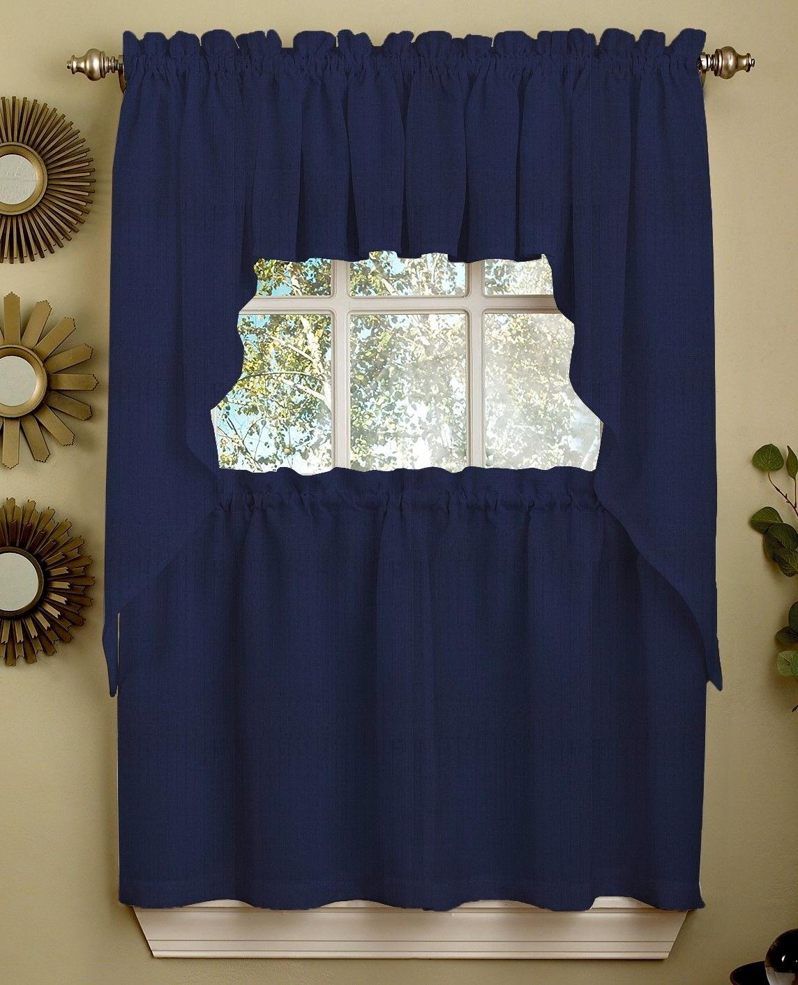 ribcord solid navy color kitchen curtain collection