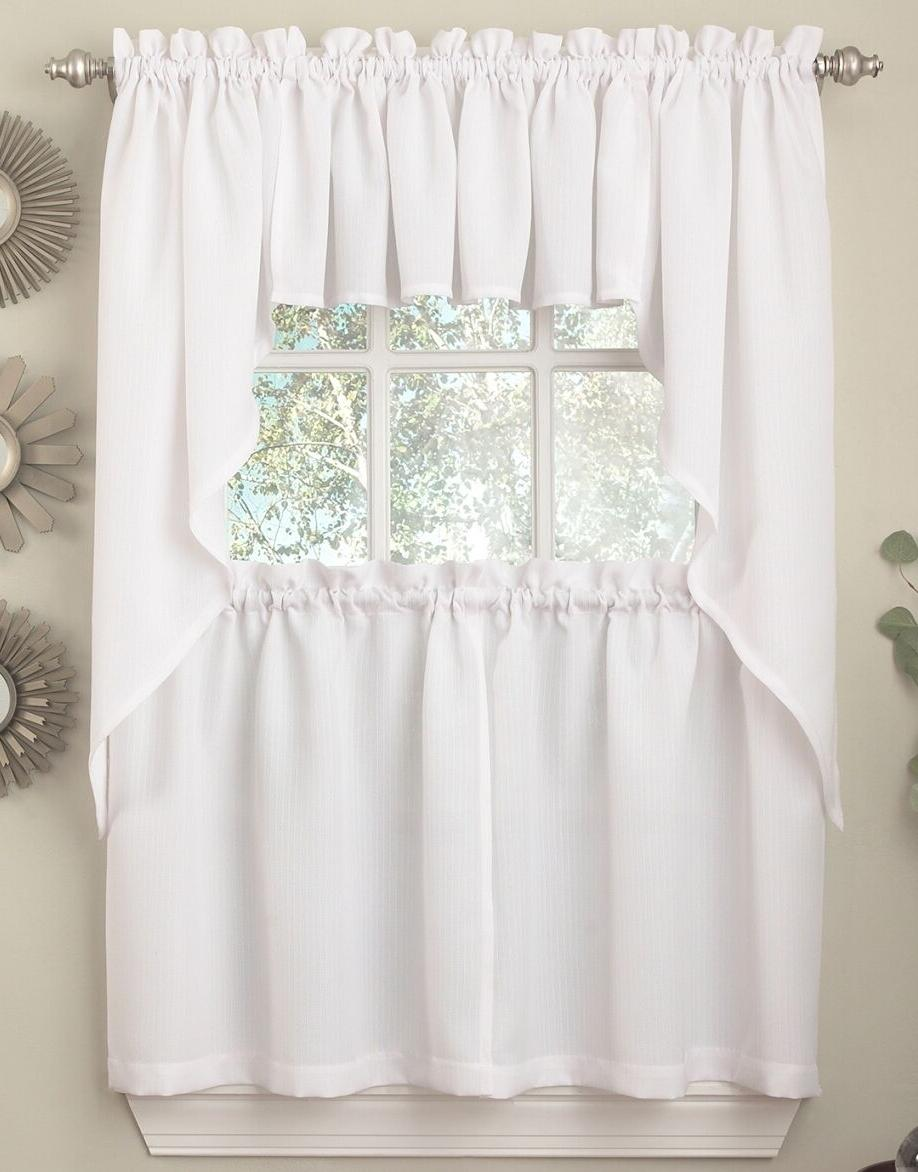 ribcord solid white color kitchen curtain collection