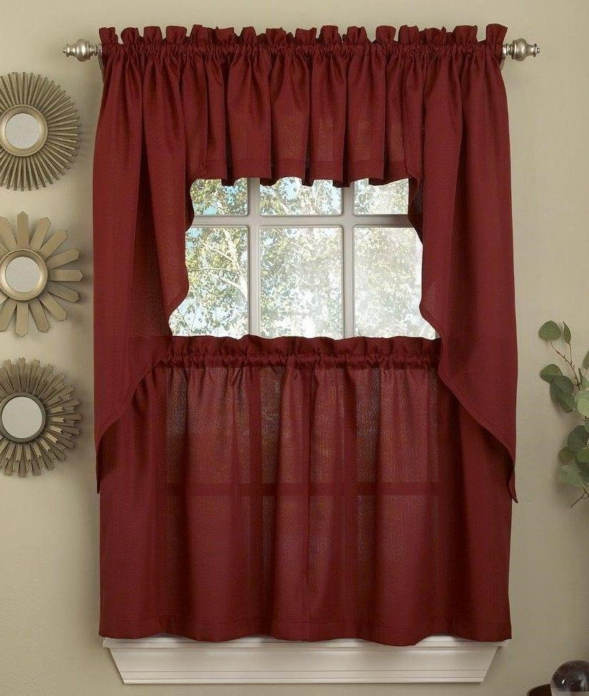 ribcord solid wine burgundy color kitchen curtain