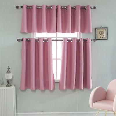 Ring Top Thermal Blackout Short Curtain For Bedroom