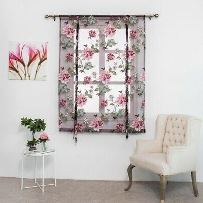 Kitchen Bathroom Window Curtains Floral Tulle Valances