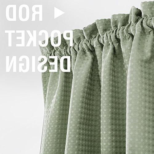 Lazzzy Olive Kitchen Curtains Green Set Half Window Weave Panels Café