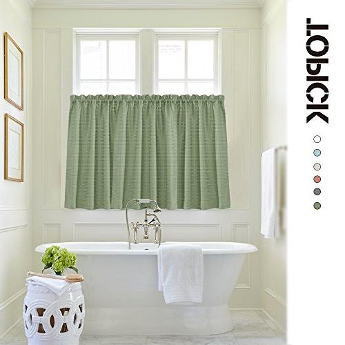 "Lazzzy Olive 24"" Curtains Sage Green Half Window Weave Panels"