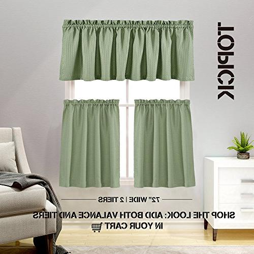 "Lazzzy 24"" Kitchen Curtains for Sage Green Curtain Set Half Window Weave Tiers Panels Curtains"