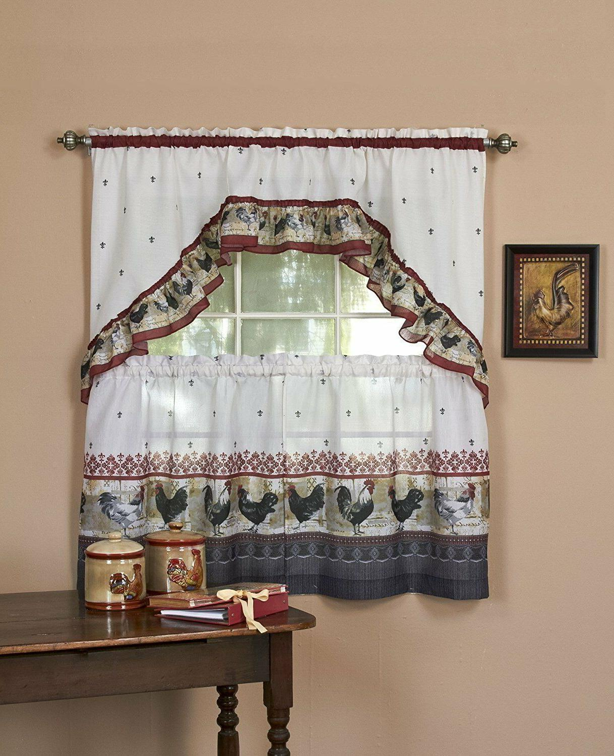 rooster complete kitchen curtain tier and swag