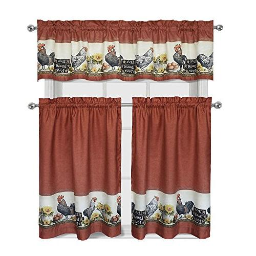 roosters sunflowers complete kitchen curtain