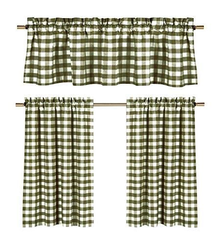Sage Green White Kitchen Curtains: Gingham Checkered Plaid Design