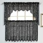 United Curtain Savannah Kitchen Tiers, 51 by 24-Inch, Black,