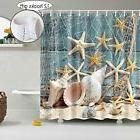 Seashell Shower Curtain Decoration for Bathroom, 3D Nature P