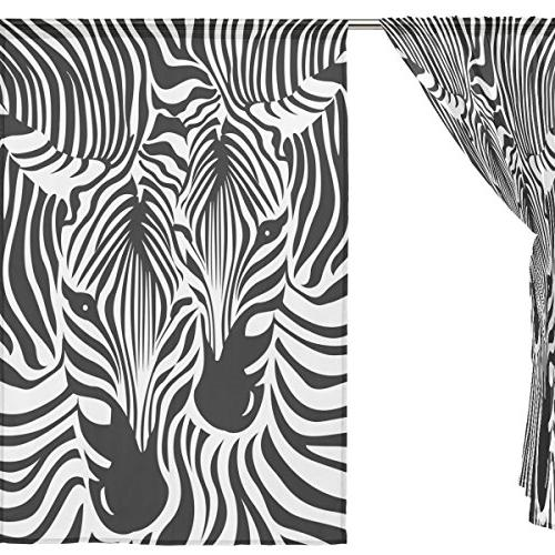 ALAZA Zebra Leopard Print Tulle Window Home Bedroom Living Room 55x84 inches panels