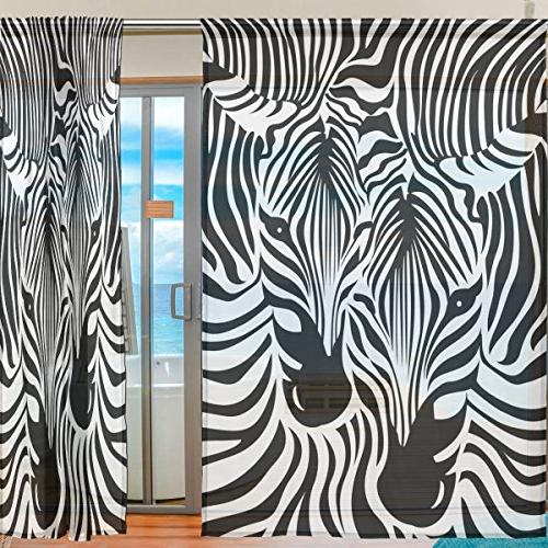 ALAZA Sheer Zebra Leopard Print Voile Tulle Window for Home Bedroom Room 55x84 inches 2 panels