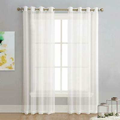 sheer curtain panels ivory eyelet top solid