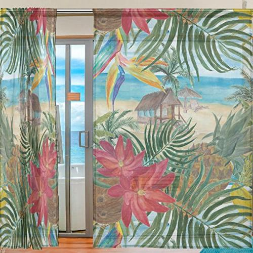 ALAZA Beach Flower Tulle Window Home Kitchen Room 55x84 panels