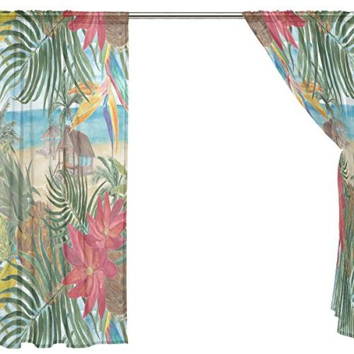 ALAZA Tropical Beach Tulle Curtain Home Living Room 2 panels