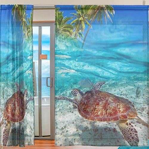 ALAZA Sheer Beach Sea Turtle Voile Tulle Window for Home Room panels
