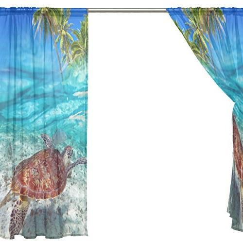 ALAZA Tropical Beach Voile Tulle Curtain Room 55x84 inches panels