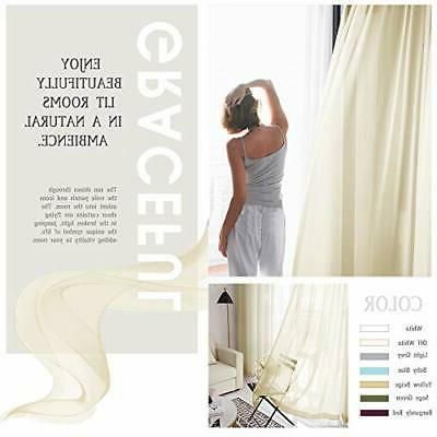 NICETOWN Sheer Curtains Kitchen Treatment Voile Pan x L63