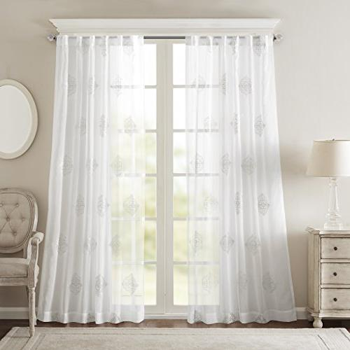 Sheer Transitional Curtain Living Massa Embroidered Rod 1-Panel