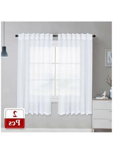 sheer curtains linen texture translucent 55x63inches