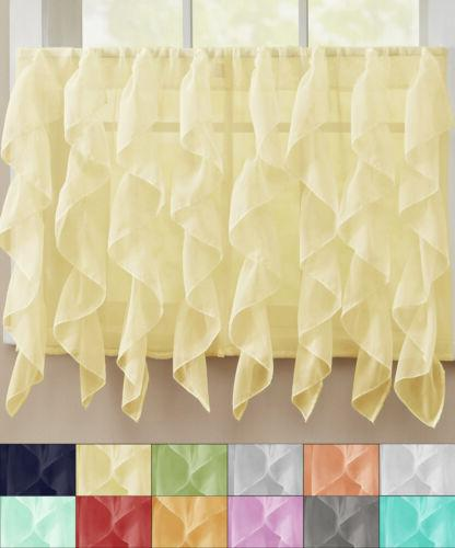 sheer voile vertical ruffle window kitchen curtain