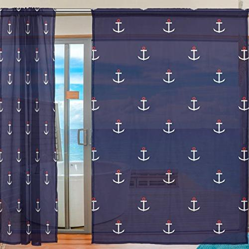 ALAZA Sheer Voile Abstract Anchor Bedroom Kids Set 2
