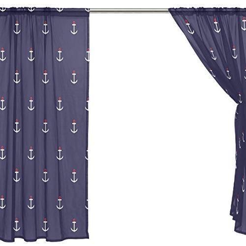 ALAZA Window Curtains Voile Panels Abstract Anchor Living Room Bedroom Polyester Set