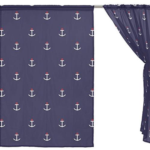 ALAZA Window Voile Panels Anchor for Bedroom Kids Curtains Polyester Set 2