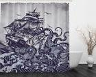 Shower Curtain Sail Boat Waves and Octopus Old Look European
