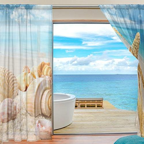 ALIREA Blue Polyester Door Voile Window Curtain Sheer For Bedroom Decor Living Room