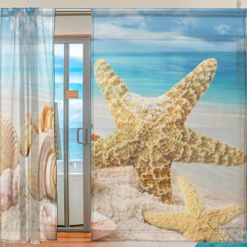 ALIREA Starfish And Seashell Blue Ocean Beach Tulle Polyester Voile Curtain Sheer Curtain For Bedroom Room Drape, 2 Panels