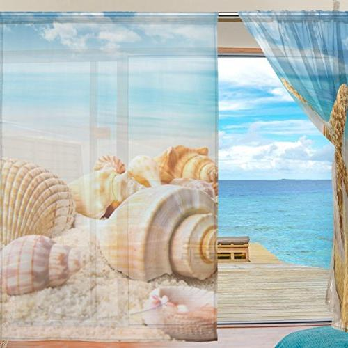 ALIREA Seashell Blue Polyester Door Voile Curtain Sheer Curtain For Room 2 Panels