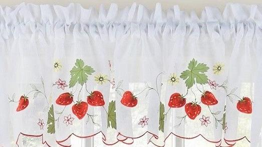 Strawberries Embroidered Kitchen Curtain Collection