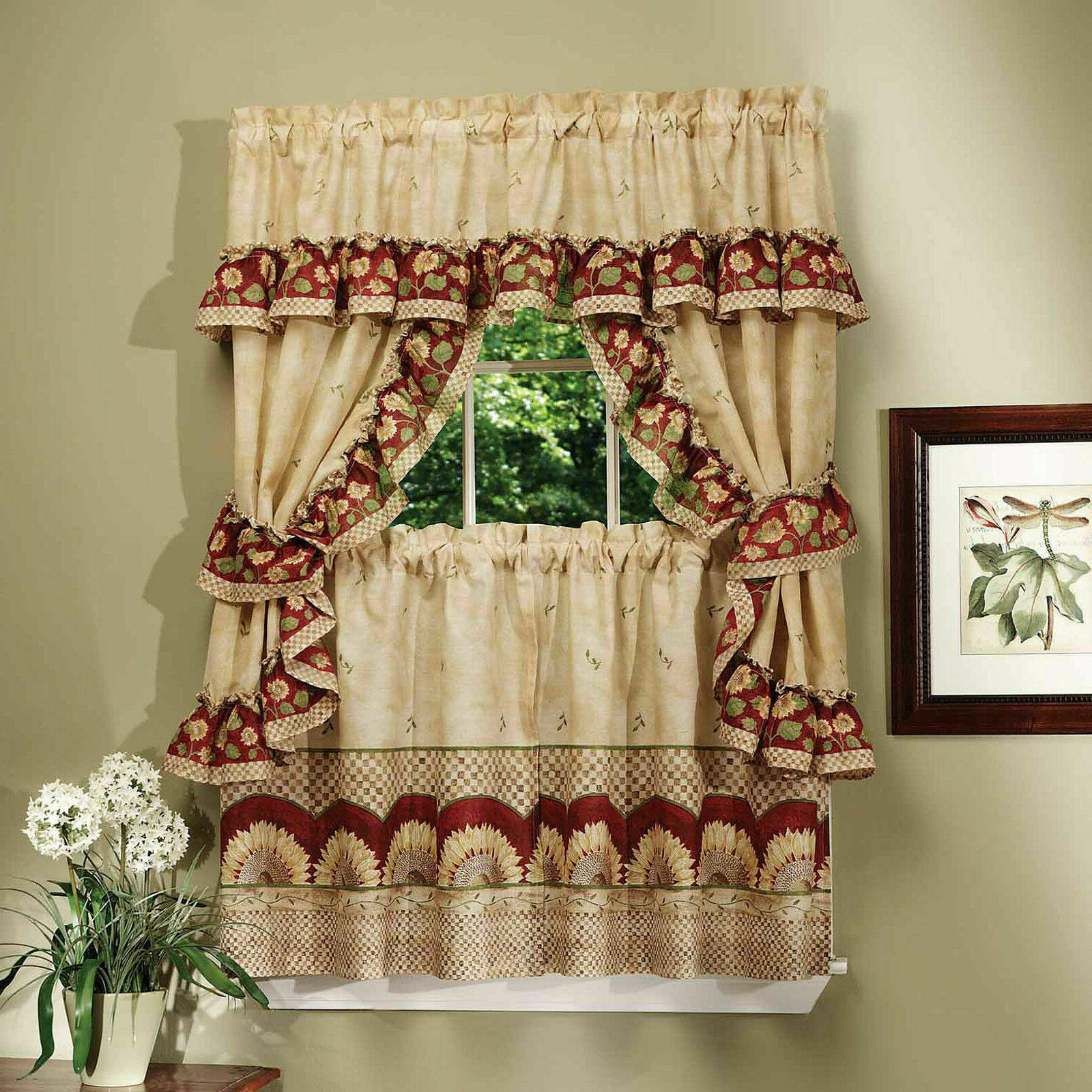 sunflower complete 5 pc cottage kitchen curtain