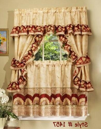 Sunflower Cottage Window Treatment Set - Size: 57 W x 36 D