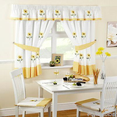 sunflower yellow embroidered gingham kitchen curtains 46