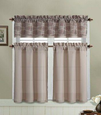 Taupe Kitchen Window Curtain Set : 2 Tier Panel, 1 Printed V
