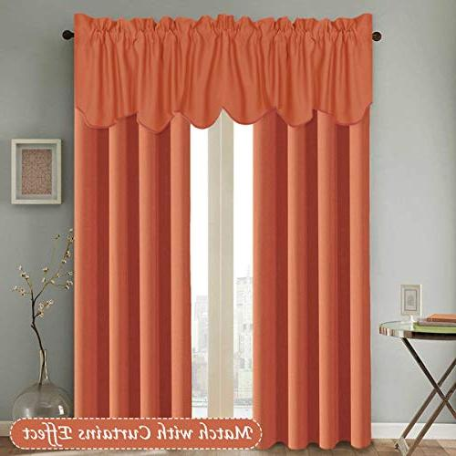 H.VERSAILTEX Thermal Window Treatments Room Darkening Scalloped Valances 2 Orange, 18 inch