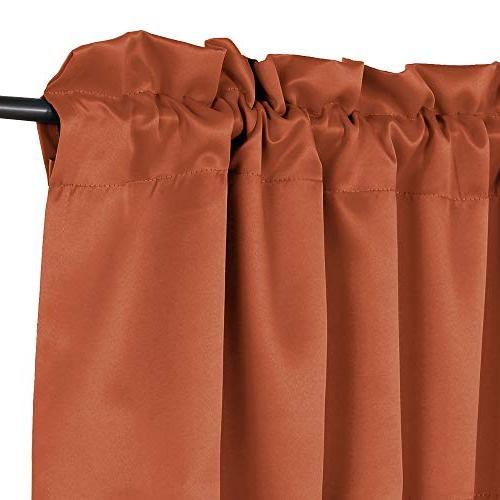 H.VERSAILTEX Thermal Window Treatments Rod Pocket Room Darkening Valances Orange, inch 18 inch