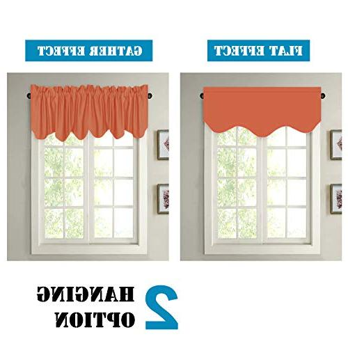 H.VERSAILTEX Window Treatments Rod Room Valances 2 Orange, 18 inch