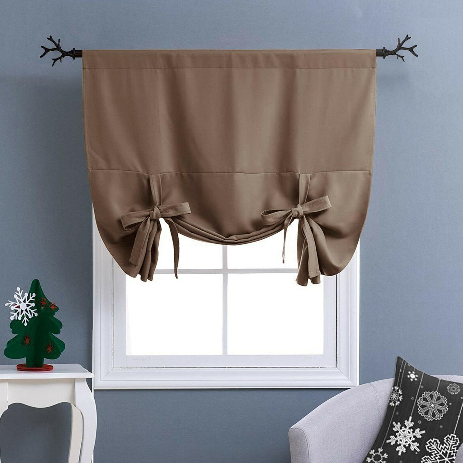 Thermal Drapes Tie Up Insulated Shades Kitchen Short Grommet