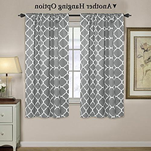 Curtains - Tie Up Shades Pocket Printed for Small x - Moroccan Tile Grey