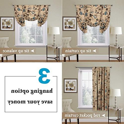 """Window Drapes Tie Curtain - 42"""" Wide by Long Floral in"""