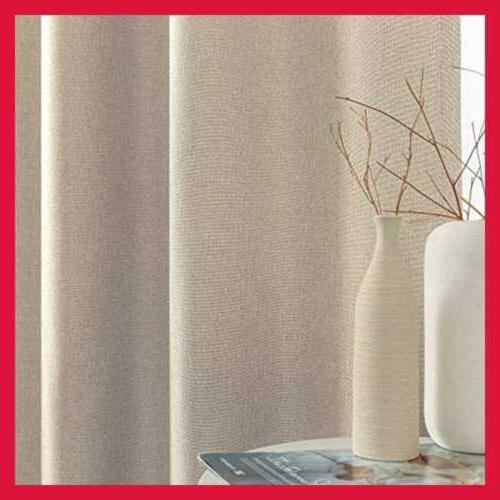 Thermal Insulated Faux Linen Room Darkening For Greyish BEIGE L63
