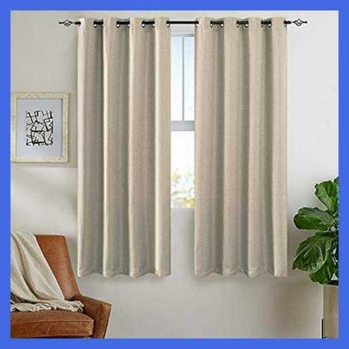 Thermal Insulated Room Curtains Greyish BEIGE L63