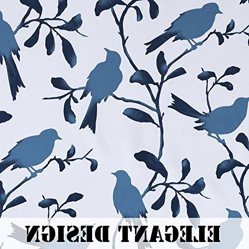 H.VERSAILTEX Thermal Darkening Curtains for Room Blackout Treatment Grommet Panels for Bedroom/Dining Room, Blue Pattern - 2 Panels 52