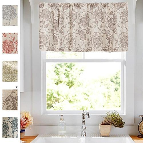 """jinchan Printed Tie-up Valance 1 pc 20"""" Taupe"""