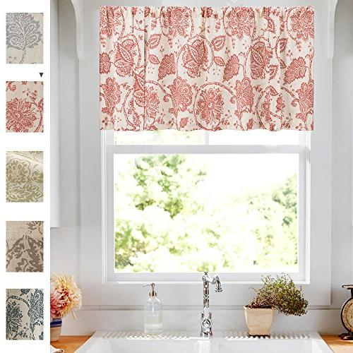 Tie-up Windows Linen Textured Adjustable Rod Pocket Rustic Floral Tie-up Valance Curtains 20