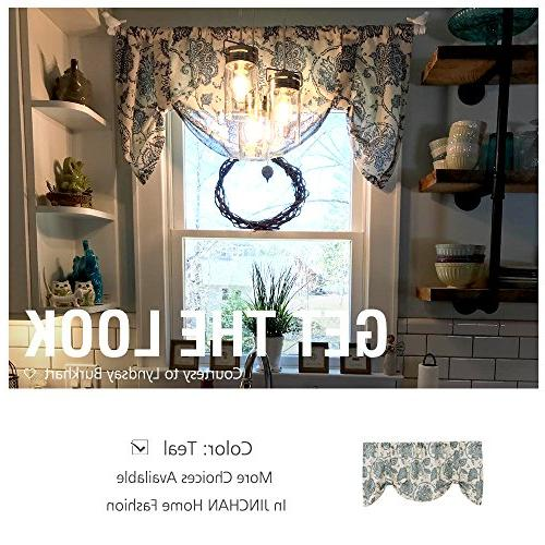 Tie Up Valances for Kitchen Jacobean Rod Pocket Rustic Linen Textured Shade for Small