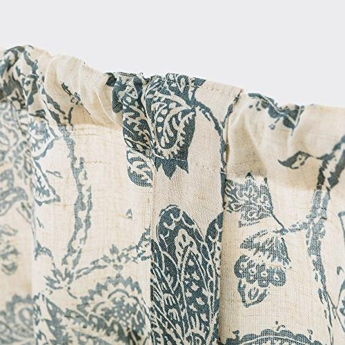 Tie Up Valances Kitchen Windows Floral Printed Valance Curtains Rod Linen Textured Tie-up for Small Inches