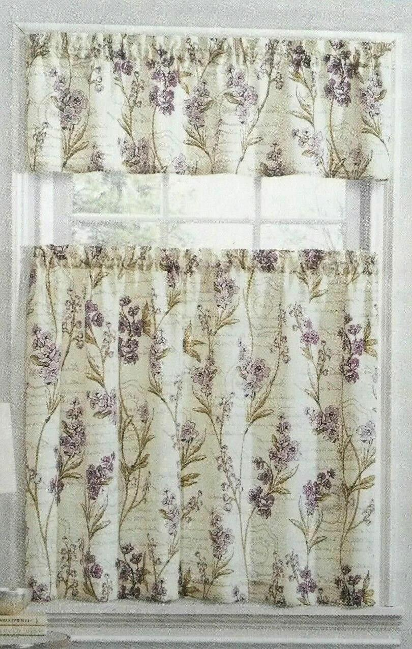 Ellery Valance Set Floral Purple Flowers
